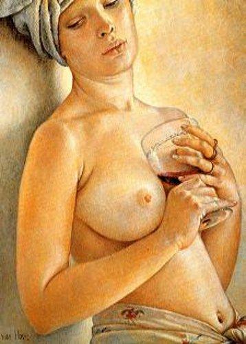 Von Hove - Lydia con il bicchiere di vino
