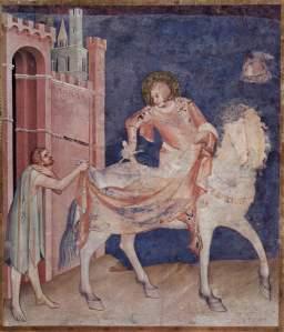 Simone Martini, San Martino divide con il povero il suo mantello, affresco, Basilica di San Francesco, Assisi.