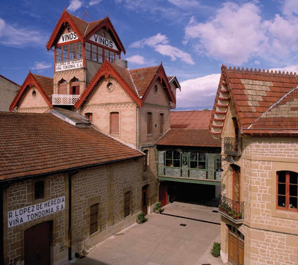 """View of the winery with its tower """"Txori-Toki"""" tower"""